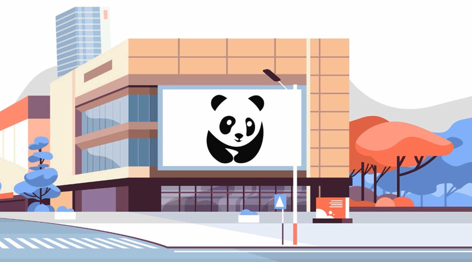 Illustration av en pandatavla som pryder en stor byggnad i stadsmiljö