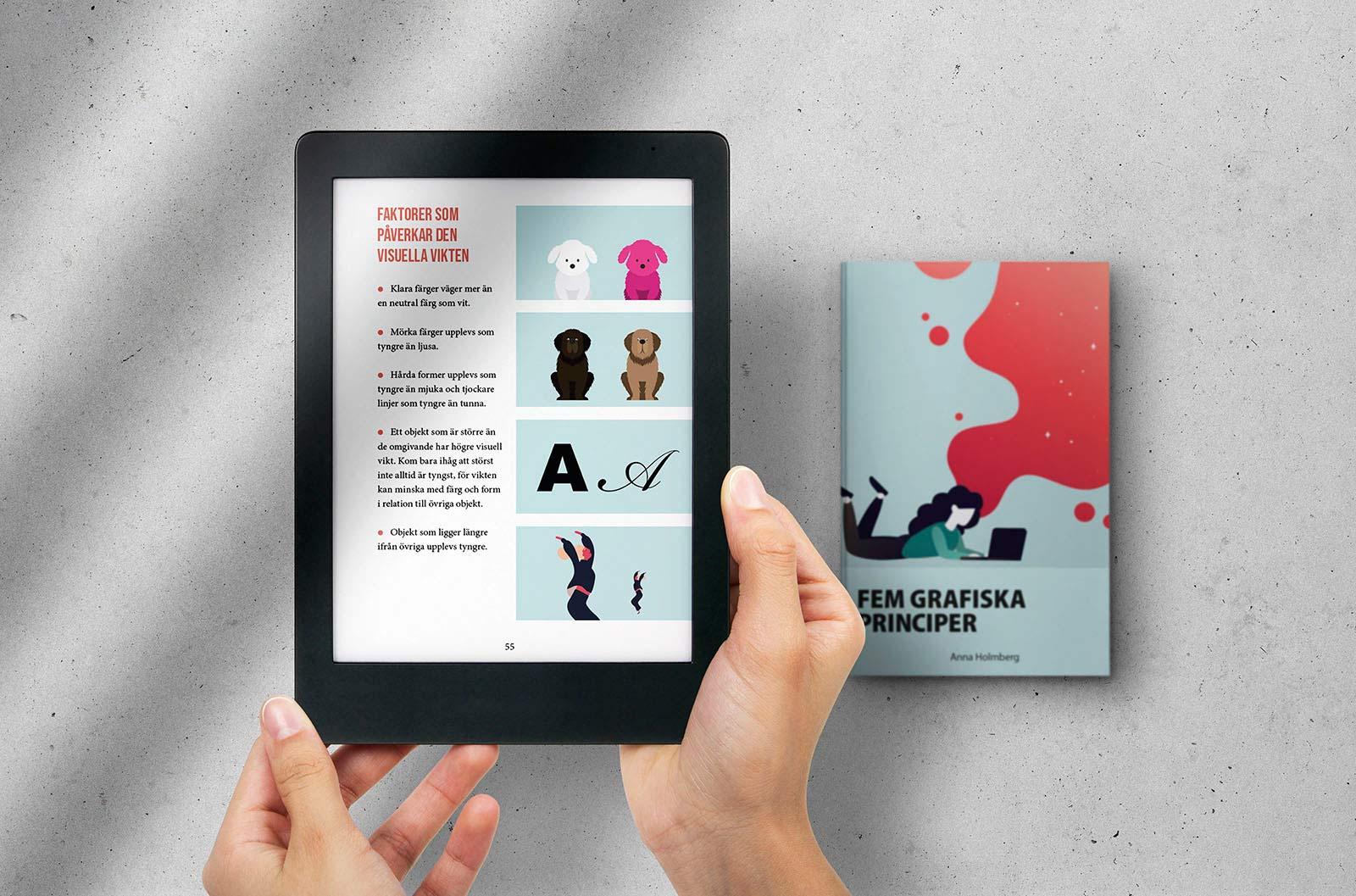 Händer som håller i surfplatta med förhandsvisning av e-boken Fem grafiska principer. Bredvid ligger ett fysiskt exemplar av boken.