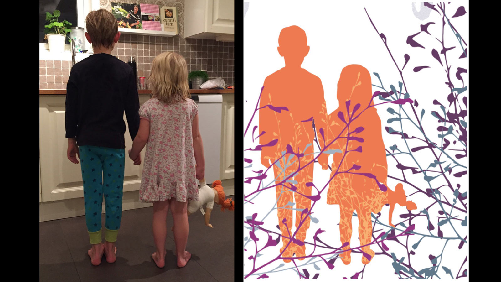 Två barn på ett foto som blivit till en illustration.